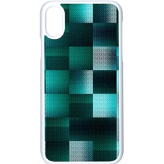 Background Squares Metal Green Apple Iphone X Seamless Case (white) by Nexatart