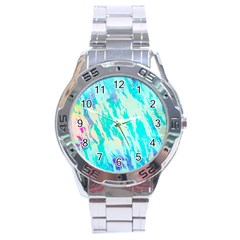 Blue Background Art Abstract Watercolor Stainless Steel Analogue Watch by Nexatart