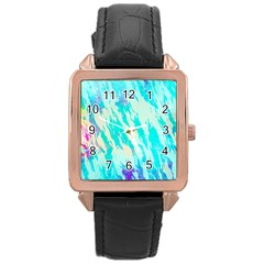 Blue Background Art Abstract Watercolor Rose Gold Leather Watch