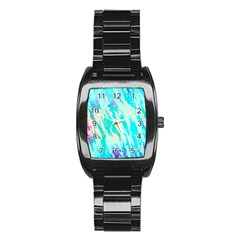 Blue Background Art Abstract Watercolor Stainless Steel Barrel Watch by Nexatart