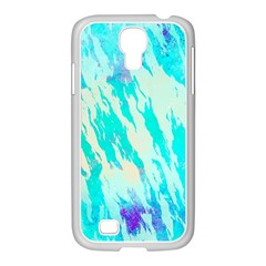Blue Background Art Abstract Watercolor Samsung Galaxy S4 I9500/ I9505 Case (white) by Nexatart