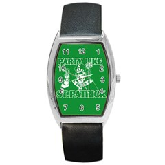 St  Patricks Day  Barrel Style Metal Watch