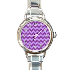 Background Fabric Violet Round Italian Charm Watch by Nexatart