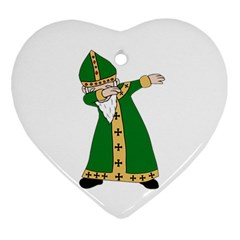 St  Patrick  Dabbing Ornament (heart) by Valentinaart
