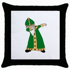St  Patrick  Dabbing Throw Pillow Case (black) by Valentinaart
