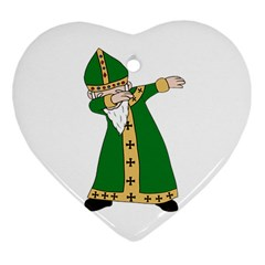 St  Patrick  Dabbing Heart Ornament (two Sides) by Valentinaart