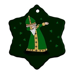 St  Patrick  Dabbing Snowflake Ornament (two Sides) by Valentinaart