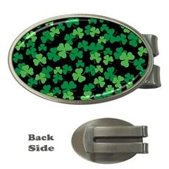 St  Patricks Day Clover Pattern Money Clips (oval)  by Valentinaart