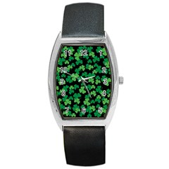 St  Patricks Day Clover Pattern Barrel Style Metal Watch