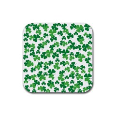 St  Patricks Day Clover Pattern Rubber Coaster (square)  by Valentinaart