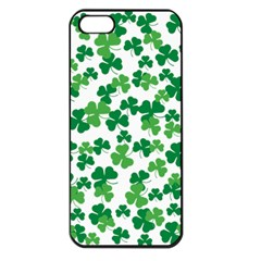 St  Patricks Day Clover Pattern Apple Iphone 5 Seamless Case (black) by Valentinaart