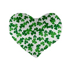 St  Patricks Day Clover Pattern Standard 16  Premium Flano Heart Shape Cushions by Valentinaart