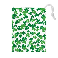 St  Patricks Day Clover Pattern Drawstring Pouches (extra Large) by Valentinaart