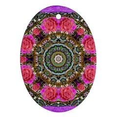 Roses In A Color Cascade Of Freedom And Peace Ornament (oval) by pepitasart