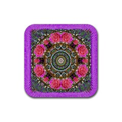 Roses In A Color Cascade Of Freedom And Peace Rubber Square Coaster (4 Pack)  by pepitasart