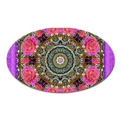 Roses In A Color Cascade Of Freedom And Peace Oval Magnet by pepitasart