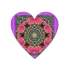 Roses In A Color Cascade Of Freedom And Peace Heart Magnet by pepitasart