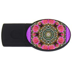 Roses In A Color Cascade Of Freedom And Peace Usb Flash Drive Oval (2 Gb) by pepitasart