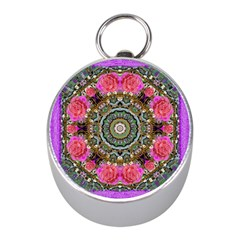 Roses In A Color Cascade Of Freedom And Peace Mini Silver Compasses by pepitasart