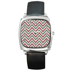 Chevron Blue Pink Square Metal Watch by snowwhitegirl