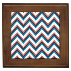 Zigzag Chevron Pattern Blue Magenta Framed Tiles by snowwhitegirl