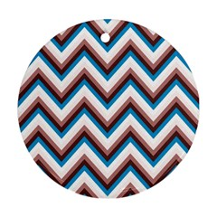 Zigzag Chevron Pattern Blue Magenta Ornament (round) by snowwhitegirl