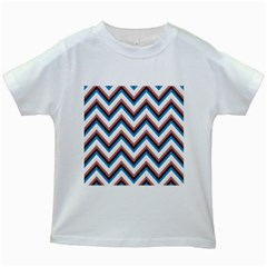 Zigzag Chevron Pattern Blue Magenta Kids White T Shirts by snowwhitegirl
