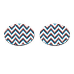 Zigzag Chevron Pattern Blue Magenta Cufflinks (oval) by snowwhitegirl
