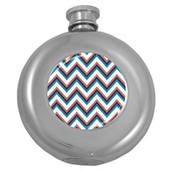 Zigzag Chevron Pattern Blue Magenta Round Hip Flask (5 Oz) by snowwhitegirl