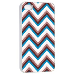 Zigzag Chevron Pattern Blue Magenta Apple Iphone 4/4s Seamless Case (white) by snowwhitegirl
