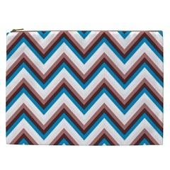 Zigzag Chevron Pattern Blue Magenta Cosmetic Bag (xxl)  by snowwhitegirl