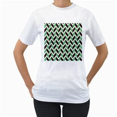 Zigzag Chevron Pattern Green Black Women s T-shirt (white) (two Sided)