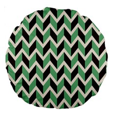 Zigzag Chevron Pattern Green Black Large 18  Premium Round Cushions by snowwhitegirl