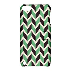 Zigzag Chevron Pattern Green Black Apple Ipod Touch 5 Hardshell Case With Stand by snowwhitegirl