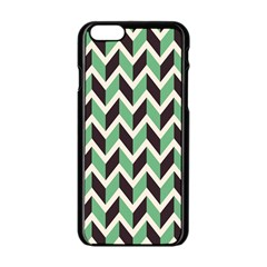 Zigzag Chevron Pattern Green Black Apple Iphone 6/6s Black Enamel Case by snowwhitegirl
