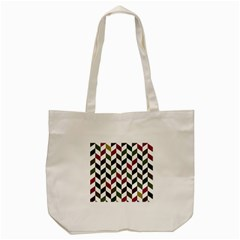 Zigzag Chevron Pattern Green Purple Tote Bag (cream) by snowwhitegirl