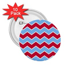 Zigzag Chevron Pattern Blue Red 2 25  Buttons (10 Pack)  by snowwhitegirl