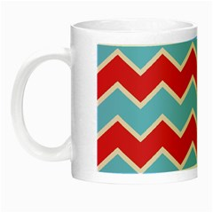 Zigzag Chevron Pattern Blue Red Night Luminous Mugs by snowwhitegirl