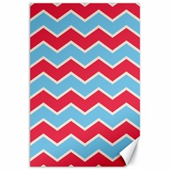 Zigzag Chevron Pattern Blue Red Canvas 24  X 36  by snowwhitegirl