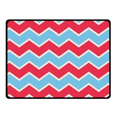Zigzag Chevron Pattern Blue Red Fleece Blanket (small) by snowwhitegirl