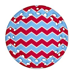 Zigzag Chevron Pattern Blue Red Round Filigree Ornament (two Sides) by snowwhitegirl