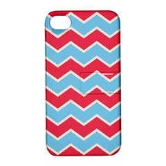 Zigzag Chevron Pattern Blue Red Apple Iphone 4/4s Hardshell Case With Stand by snowwhitegirl