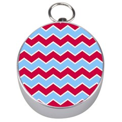 Zigzag Chevron Pattern Blue Red Silver Compasses
