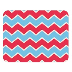 Zigzag Chevron Pattern Blue Red Double Sided Flano Blanket (large)  by snowwhitegirl