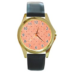 Dot Peach Round Gold Metal Watch by snowwhitegirl