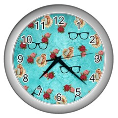 Vintage Glasses Blue Wall Clocks (silver)  by snowwhitegirl
