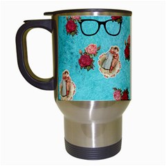 Vintage Glasses Blue Travel Mugs (white) by snowwhitegirl