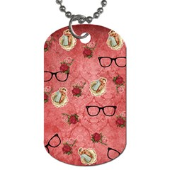 Vintage Glasses Rose Dog Tag (two Sides) by snowwhitegirl