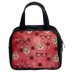 Vintage Glasses Rose Classic Handbags (2 Sides) by snowwhitegirl