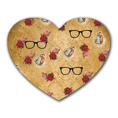 Vintage Glasses Beige Heart Mousepads by snowwhitegirl